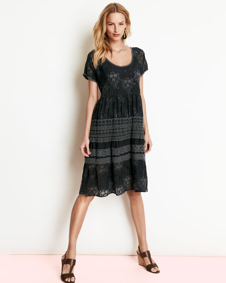 Embroidered-Georgette Short-Sleeve Dress, Women's