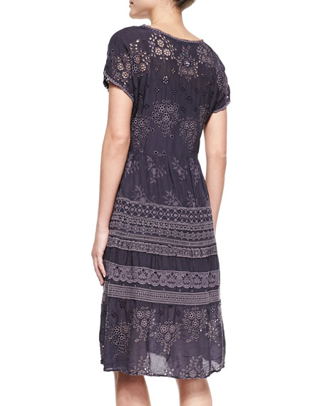 Embroidered-Georgette Short-Sleeve Dress