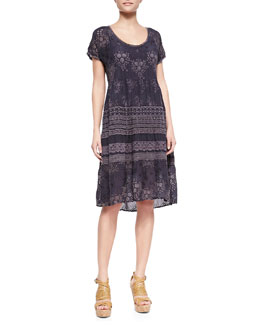 Johnny Was Collection Embroidered-Georgette Short-Sleeve Dress