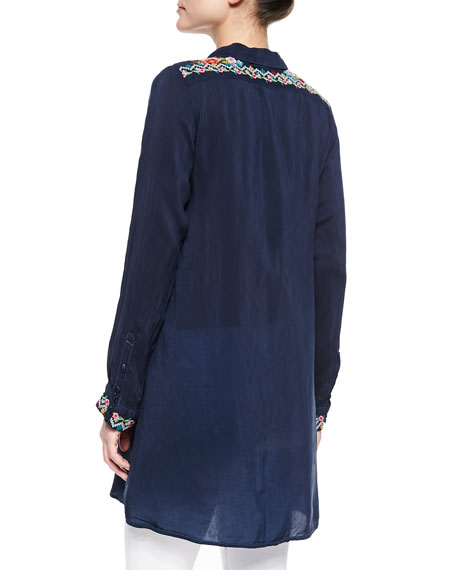 Myra Embroidered Button-Front Blouse