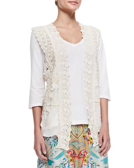 Vintage Crochet Collage Vest, Natural