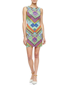 Mara Hoffman Printed Jersey Peekaboo-Back Mini Dress