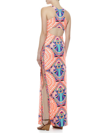 High-Neck Printed Column Maxi Dress