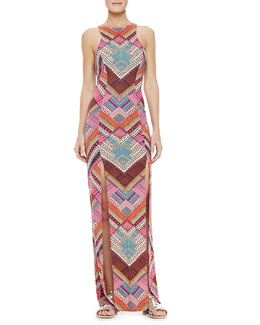 Mara Hoffman Printed Maxi Dress with High Slits