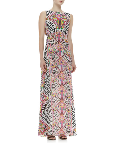 Back-Keyhole Printed Gown
