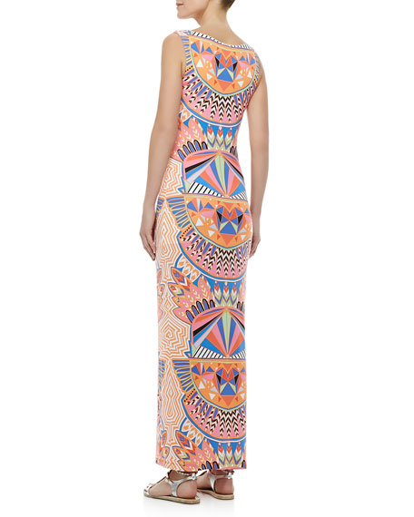 Fitted Printed Tank Maxi Dress