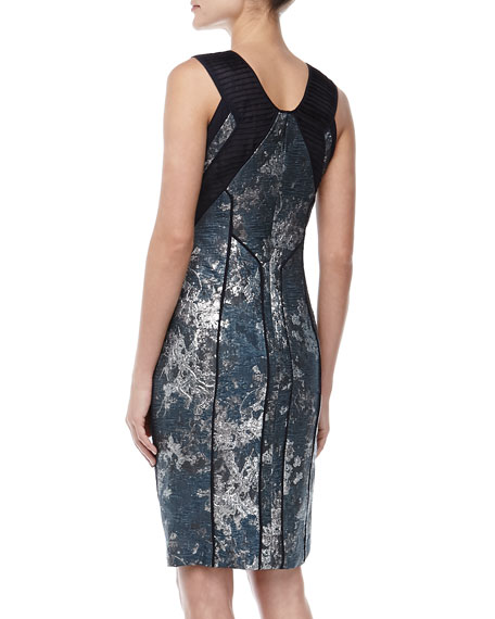 Sleeveless Jacquard Sheath Dress, Celestial