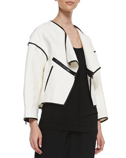 10 Crosby Derek Lam Faux-Leather Trim Open Jacket