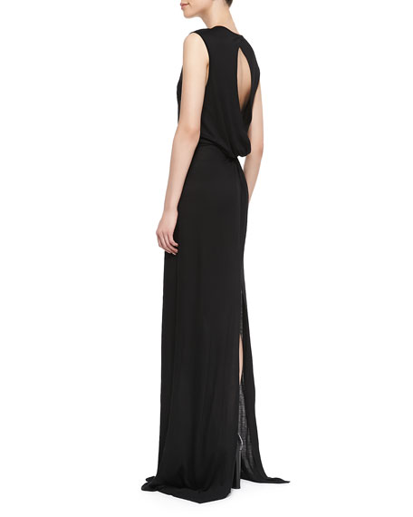 Knotted Open-Back Maxi Dress