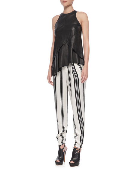 Striped Pleated Trousers, Black/White