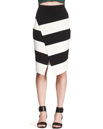 Campbell Striped Crossover Skirt