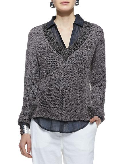 Mesh V-Neck Box Sweater Top