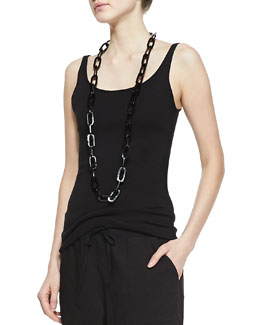 Eileen Fisher Long Slim Cotton Tank, Petite
