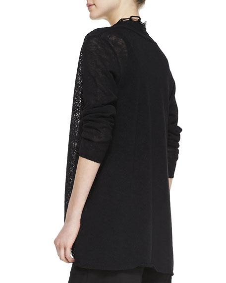 Melange Linen-Blend Cardigan, Black