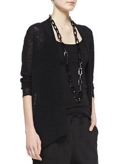 Eileen Fisher Melange Linen-Blend Cardigan, Black