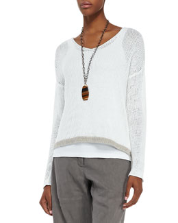 Eileen Fisher Linen Colorblock Box Top, Petite