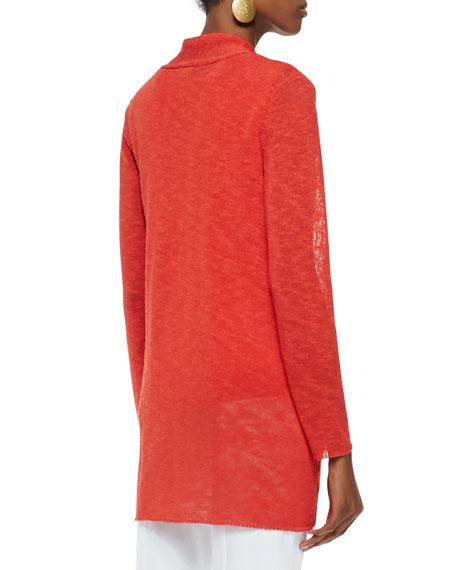 Melange Linen-Blend Cardigan