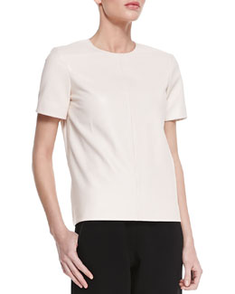 Rag & Bone Oda Short-Sleeve Leather Top
