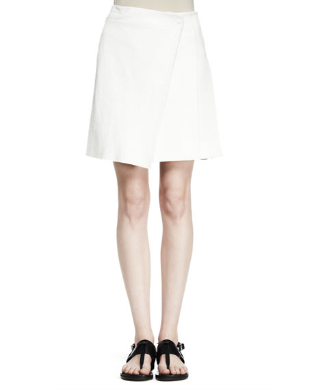 Edburg Asymmetric Leather-Combo Wrap Skirt