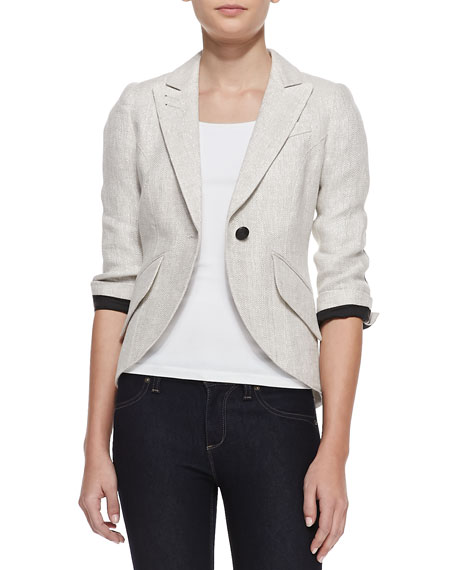 Elbow-Patch Shimmery Linen Blazer