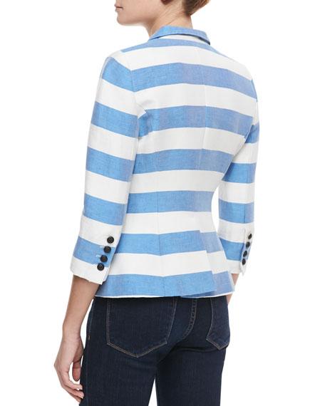 Spring Striped Crossover Blazer