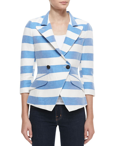 Spring Striped Crossover Blazer