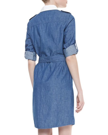 Brigitte Contrast Tie Waist Dress, Rinse Blue/White