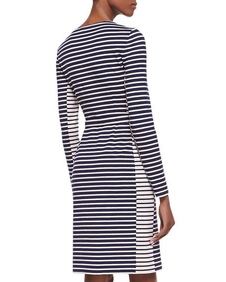 Callan Belted Striped Long-Sleeve Dress