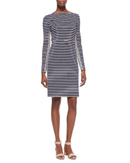 Tory Burch Callan Belted Striped Long-Sleeve Dress