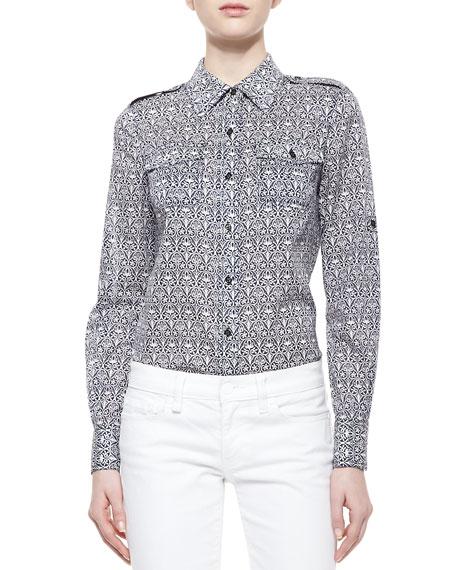 Tory burch brigitte printed button down blouse carinthia navy for Tory burch button down shirt