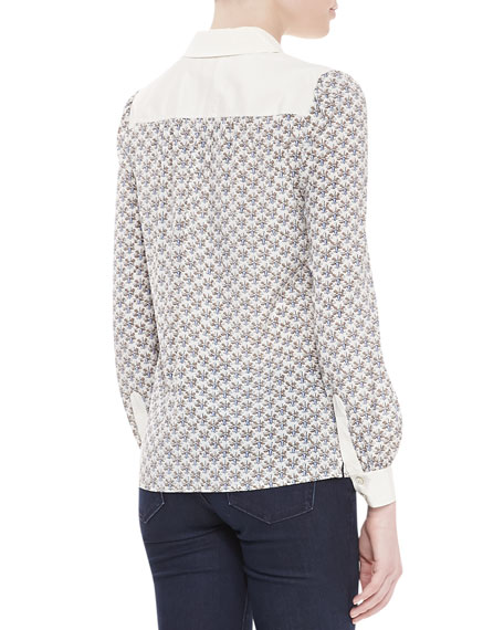 Adrienne Floral-Print Contrast-Collar Blouse
