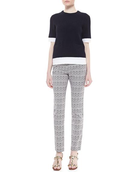 Heidi Slim Fit Print Pants, Carinthia Navy/White
