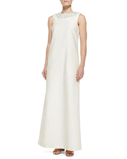 Tory Burch Julia Embellished-Neck Long Dress