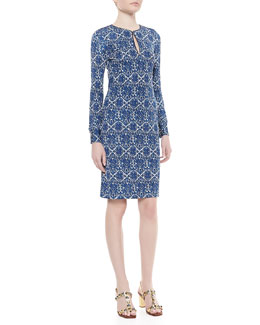 Tory Burch Walker Long-Sleeve Fitted Dress, Dark Bahama