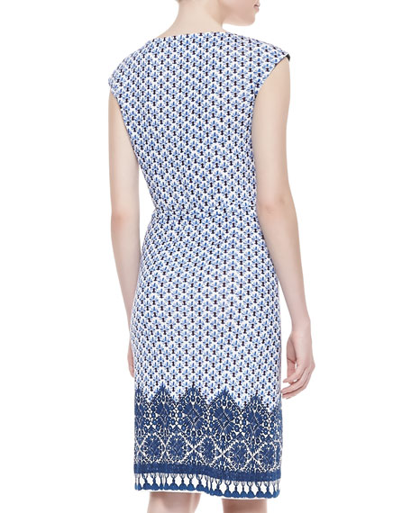 Jamie Cap-Sleeve Sheath Dress, Border Coast