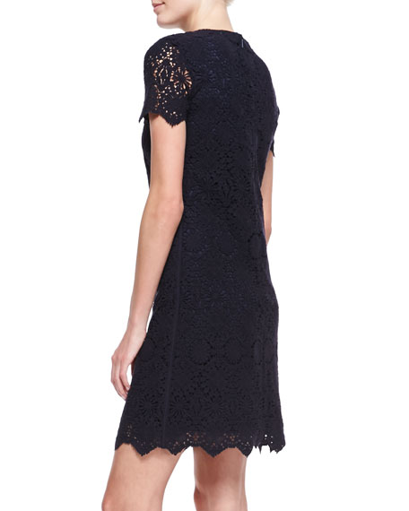 Trixy Crochet Lace Dress, Medium Navy