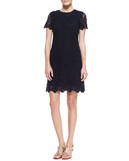 Tory Burch Trixy Crochet Lace Dress, Medium Navy