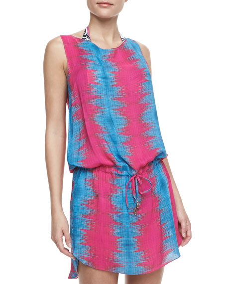 Printed Drawstring Coverup Dress