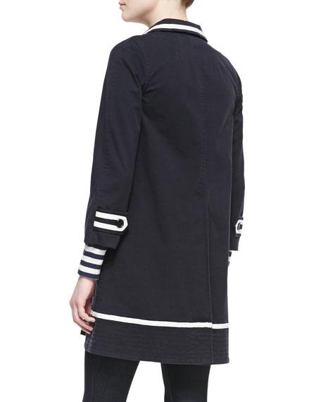 Zeta Twill 3/4-Sleeve Coat, Black