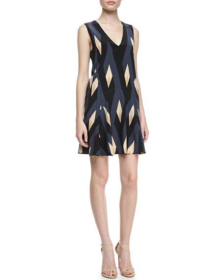 Diamond/Flame-Print A-Line Dress