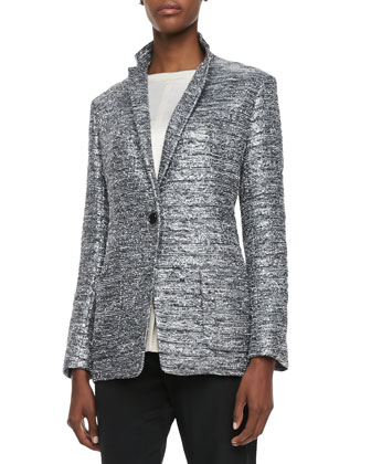 Shimmery Long Tweed Jacket