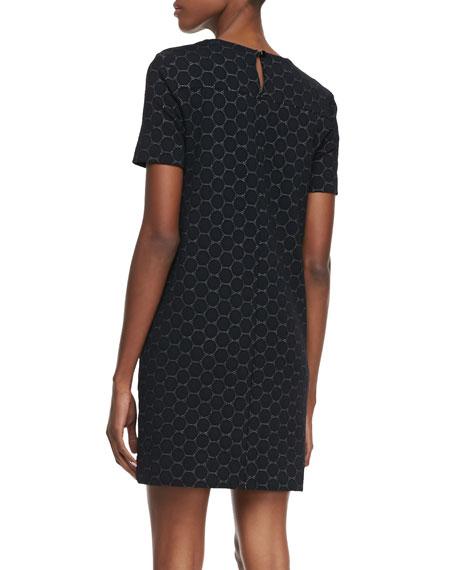 Leyna Dotted Ponte Dress, Black
