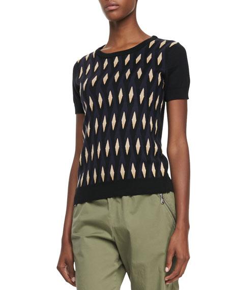 Diamond-Print Short-Sleeve Sweater