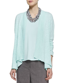 Eileen Fisher Linen Cotton Slub Cardigan, Petite
