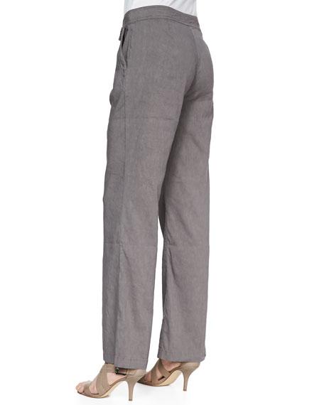 Linen-Blend Straight-Leg Trousers, Petite