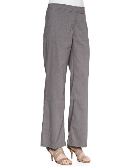 Straight-Leg Linen-Blend Trousers, Women's