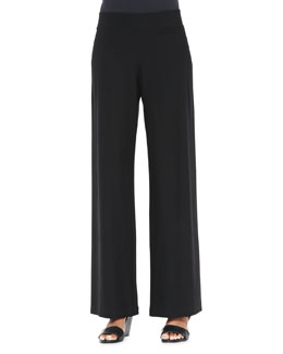 Eileen Fisher Modern Wide-Leg Crepe Pants, Petite