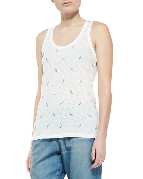 Feather-Print Beater Tank Top