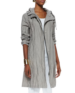Eileen Fisher Rumpled Hooded Long Coat