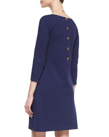 Charlene 3/4-Sleeve Pocket Dress, Navy
